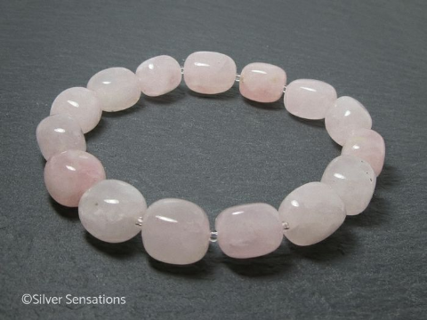 Baby Pink Rose Quartz Nugget Beads Bracelet